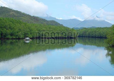 Bacungan Mangrove Clear Water River Nature Scenery With Passenger Boat In Puerto Princesa, Palawan