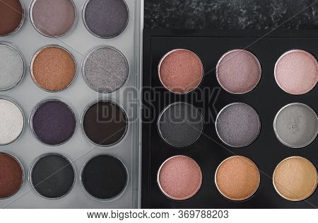 Cosmetics And Beauty, Close-up Of Two Similar Eyeshadow Palettes With Neutral Nude Tones Next To Eac