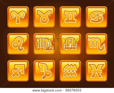 Gold Zodiac Icons