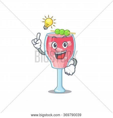 Mascot Character Of Smart Cosmopolitan Cocktail Has An Idea Gesture
