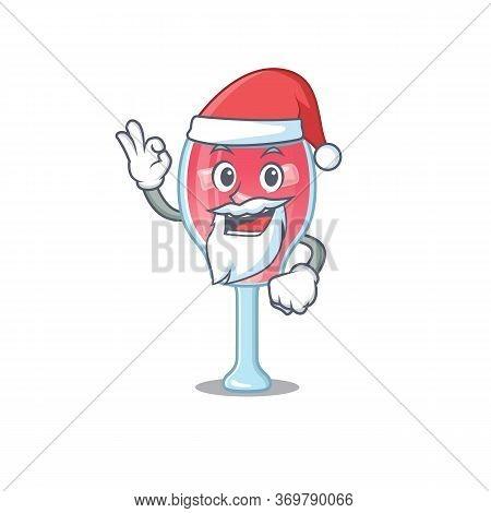 Cartoon Character Of Cosmopolitan Cocktail Santa Having Cute Ok Finger
