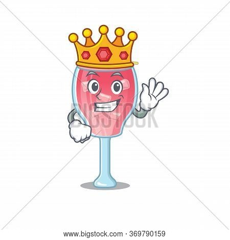 A Wise King Of Cosmopolitan Cocktail Mascot Design Style With Gold Crown