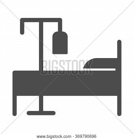 Bed And Dropper Solid Icon, Emergency Therapy Concept, Hospital Bed With Drop Counter Sign On White