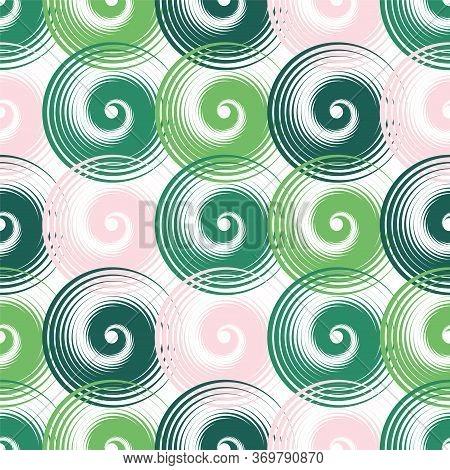 Spiral Swirls Green Complicated Seamless Pattern Vector Design. Round Spiral Scrolls, Circle Swirls