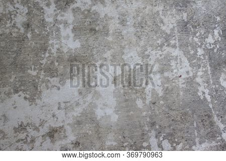 Textures Of Old Cement Floor With Cracks For Background.