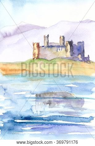 Watercolour Drawing Of A Travel Sketch Castle On The Ocean Coast In Wales Snowdonia England