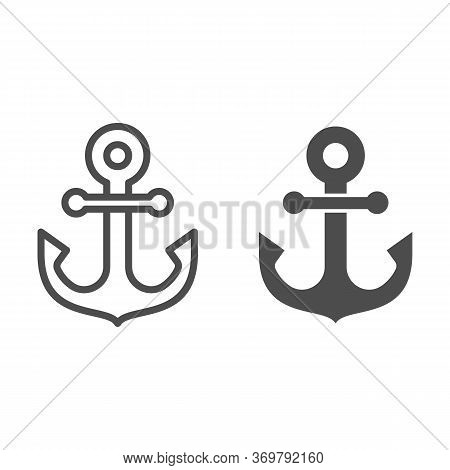Anchor Line And Solid Icon, Marine Concept, Nautical Emblem Sign On White Background, Anchor Icon In