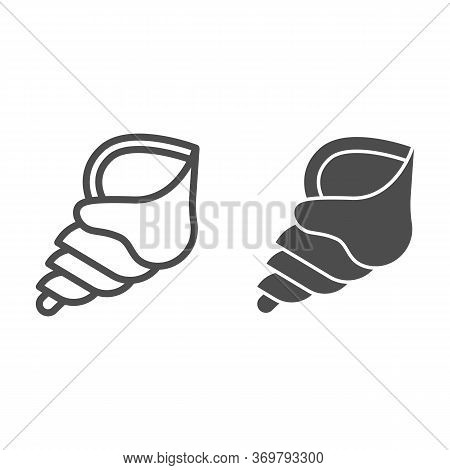 Seashell Line And Solid Icon, Nautical Concept, Spiral Ocean Shell Sign On White Background, Horn Sh