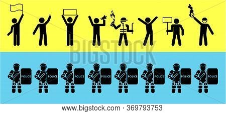 Set Of Icons That Represent Confrontation Between Police And Demonstrators. Political Protests. Prot