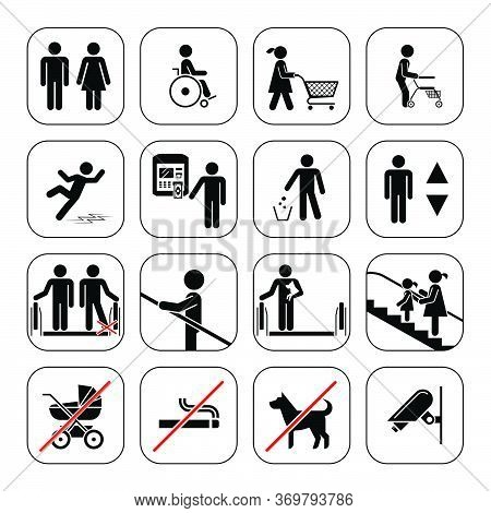 Airport, Shopping Mall Icons Set.  Vector Pictogram Icons Set On White Background.