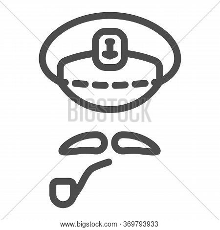 Captains Cap, Mustache And Pipe Line Icon, Nautical Concept, Abstract Sea Captain Character Sign On
