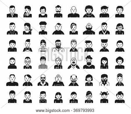 Set Of People Avatar Design Icons. Collection Of Avatars Related To Various Types Of People Face.