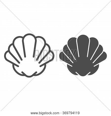 Shell Line And Solid Icon, Marine Life Concept, Shellfish Shell Sign On White Background, Seashell I