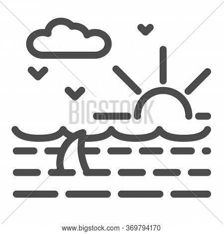 Ocean Waves With Shark Line Icon, Nautical Concept, Ocean Landscape With Sun, Clouds And Seagulls Si