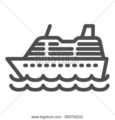 Cruise Ship Line Icon, Ocean Concept, Marine Sail Boat Sign On White Background, Sea Cruise Liner Ic