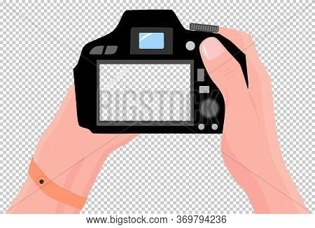 Digital Photo Camera In Hands. First-person View. Copy Space For Your Own Pictures. Digital Photo Ca