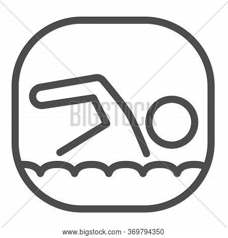Swimmer Line Icon, Nautical Concept, Man Swims In Sea Sign On White Background, Swimming Icon In Out