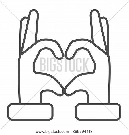Hands In Heart Form Thin Line Icon, Gestures Concept, Heart Shape Hand Gesture Sign On White Backgro