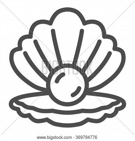 Shell With Pearl Line Icon, Nautical Concept, Seashell Sign On White Background, Pearl In Opened Sea