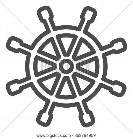 Wooden Marine Wheel Line Icon, Nautical Concept, Ship Helm Sign On White Background, Shipboard Steer