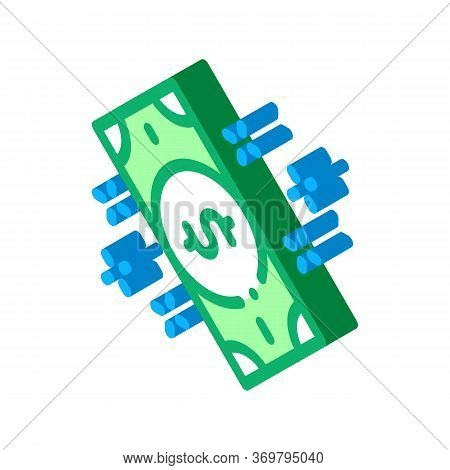 Money Banknote Icon Vector. Isometric Money Banknote Sign. Color Isolated Symbol Illustration