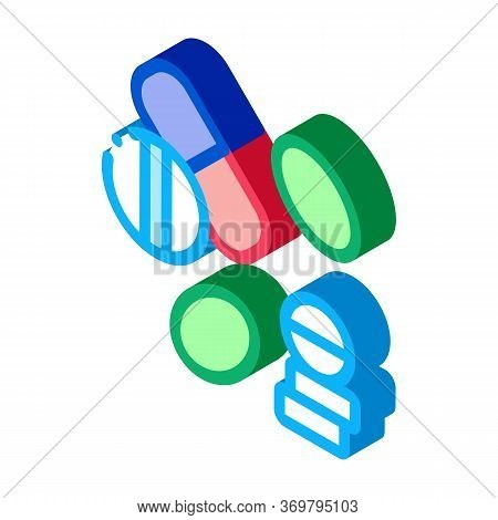 Medical Drug Pill Icon Vector. Isometric Medical Drug Pill Sign. Color Isolated Symbol Illustration