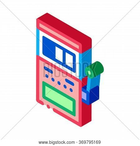 Slot Machine Icon Vector. Isometric Slot Machine Sign. Color Isolated Symbol Illustration