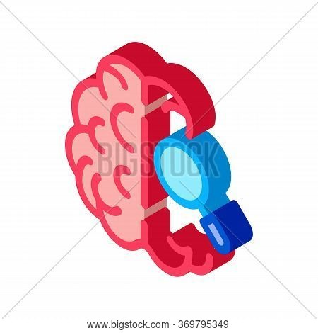 Brain Magnifier Icon Vector. Isometric Brain Magnifier Sign. Color Isolated Symbol Illustration