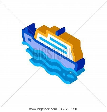 Pleasure Boat Icon Vector. Isometric Pleasure Boat Sign. Color Isolated Symbol Illustration