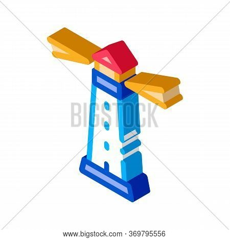 Lighthouse Beacon Icon Vector. Isometric Lighthouse Beacon Sign. Color Isolated Symbol Illustration