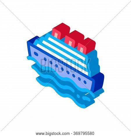 Cruise Ship Icon Vector. Isometric Cruise Ship Sign. Color Isolated Symbol Illustration