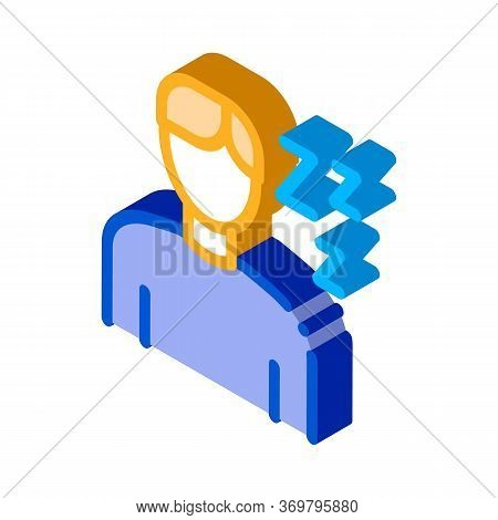 Drowsiness Man Icon Vector. Isometric Drowsiness Man Sign. Color Isolated Symbol Illustration