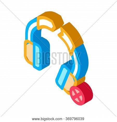 Broken Earphones Icon Vector. Isometric Broken Earphones Sign. Color Isolated Symbol Illustration