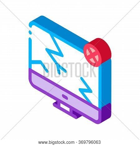 Wrecked Screen Icon Vector. Isometric Wrecked Screen Sign. Color Isolated Symbol Illustration
