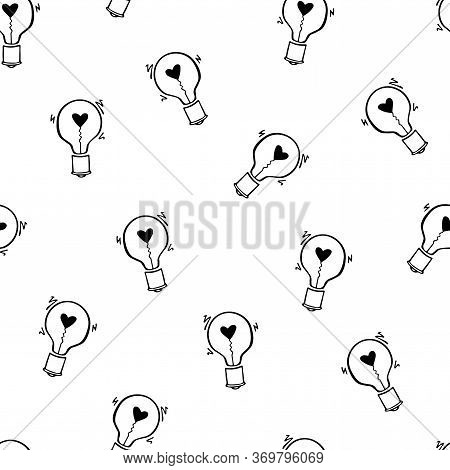 Light Bulb With Heart Seamless Vector Pattern. Hand Drawn Doodle Background With Bulbs. Black And Wh