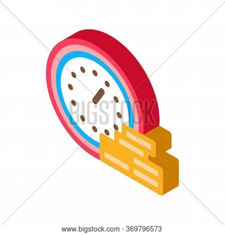 Watch Coin Heap Icon Vector. Isometric Watch Coin Heap Sign. Color Isolated Symbol Illustration
