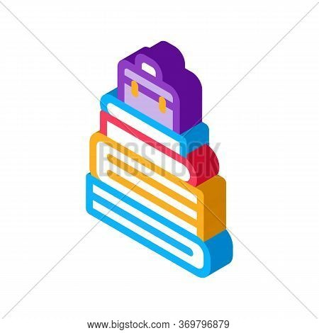 Case Heap Tower Icon Vector. Isometric Case Heap Tower Sign. Color Isolated Symbol Illustration