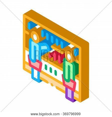 Customers Counter Icon Vector. Isometric Customers Counter Sign. Color Isolated Symbol Illustration