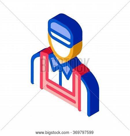 Car Repairman Icon Vector. Isometric Car Repairman Sign. Color Isolated Symbol Illustration