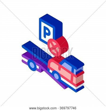 Wrong Parking Car Icon Vector. Isometric Wrong Parking Car Sign. Color Isolated Symbol Illustration