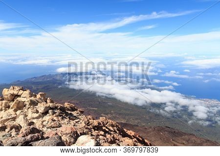 Panorama View From Volcano Mount Teide On Canary Island Tenerife, Spain