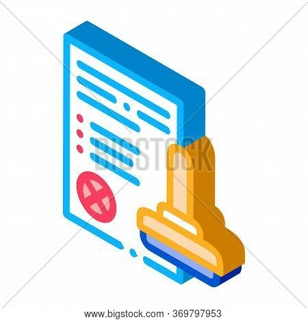 List Denial Stamp Icon Vector. Isometric List Denial Stamp Sign. Color Isolated Symbol Illustration