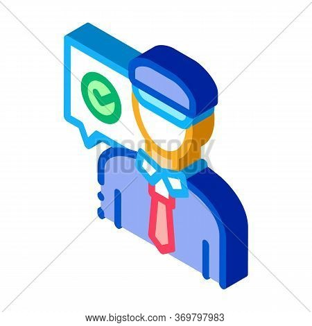 Policeman Access Icon Vector. Isometric Policeman Access Sign. Color Isolated Symbol Illustration