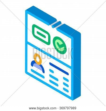 Passport Access Icon Vector. Isometric Passport Access Sign. Color Isolated Symbol Illustration