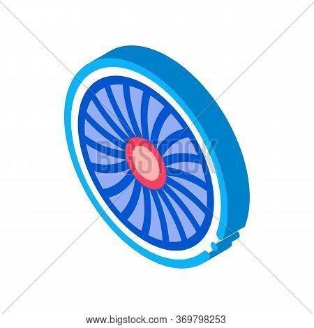 Turbine Engine Icon Vector. Isometric Turbine Engine Sign. Color Isolated Symbol Illustration