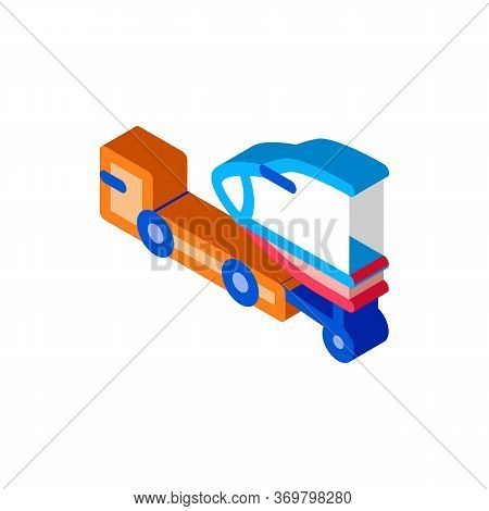 Plane Tow Truck Icon Vector. Isometric Plane Tow Truck Sign. Color Isolated Symbol Illustration