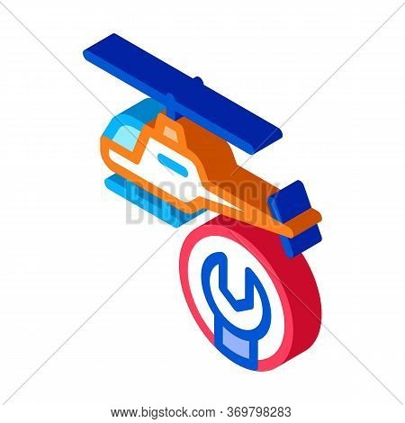 Helicopter Wrench Icon Vector. Isometric Helicopter Wrench Sign. Color Isolated Symbol Illustration