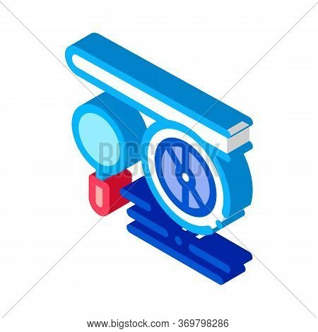 Engine Magnifier Icon Vector. Isometric Engine Magnifier Sign. Color Isolated Symbol Illustration