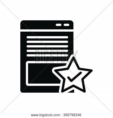 Black Solid Icon For Page-quality Attribute Document Merit Merits Page Quality