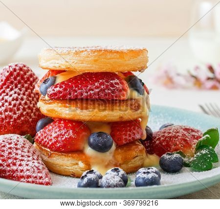 Mille Feuille, Puff Pastry Discs With Giant Strawberries And Blueberries With Lemon Curd. Gordon Ram